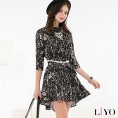 洋裝碎花修身傘狀洋裝LIYO理優O716001