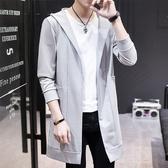 春夏季新款外套男中長款風衣薄款防曬披風男士帥氣韓版修身大衣潮男女