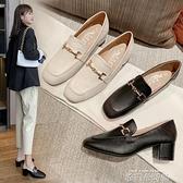 高跟鞋女2020年新款粗跟單鞋女鞋夏季百搭豆豆鞋黑色職業工作皮鞋 依凡卡時尚
