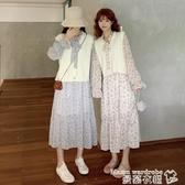 碎花洋裝早秋2020新款韓版法式桔梗約會裙溫柔風洋氣系帶長袖碎花連身裙女 曼慕衣櫃