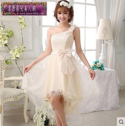 新娘伴娘禮服結婚晚禮服婚禮 敬酒服晚裝短款單肩新款-ming003
