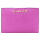 【南紡購物中心】MICHAEL KORS JET SET 防刮卡片零錢短夾-紫紅