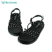 Bo Derek 復古波點羅馬涼鞋-黑色