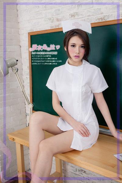護士服 角色扮演 制服 氣質側扣式洋裝 白衣天使連身裙-愛衣朵拉