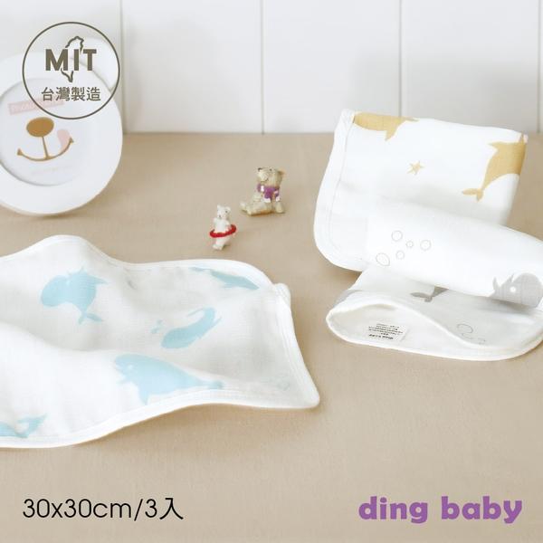 【盒裝】ding baby 六層紗純棉小方巾-3入組(鯨魚) C-998103