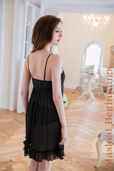 (特價) 大尺碼 Annabery黑白點點高腰二件式睡衣 (OS小舖)