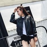 皮衣外套-純色寬鬆短款棒球服女夾克73on51【巴黎精品】