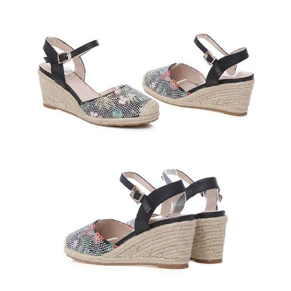 ★2018春夏新品★TAS 鳳梨水鑽草編楔型涼鞋-氣質黑
