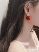 熱賣耳環紅色愛心耳釘銀個性氣質網紅高級感復古圣誕耳環韓國潮女
