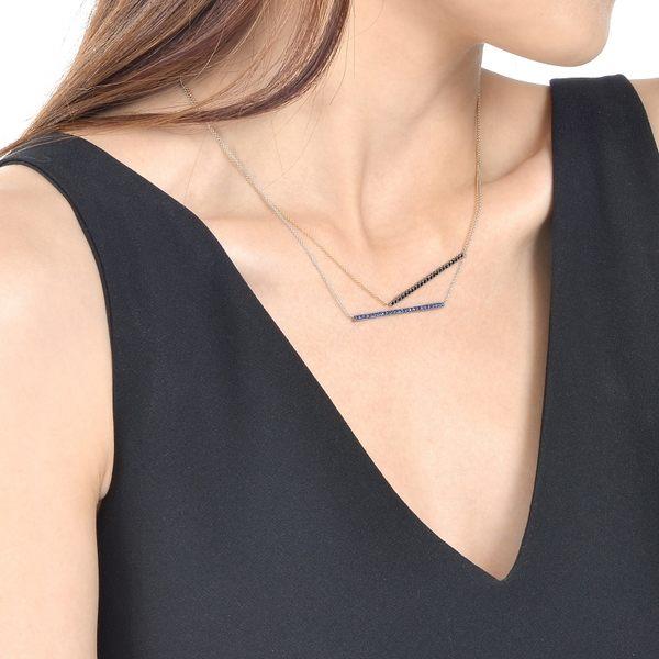 點睛品 霓彩系列 時尚一字造型18K金藍寶石項鍊