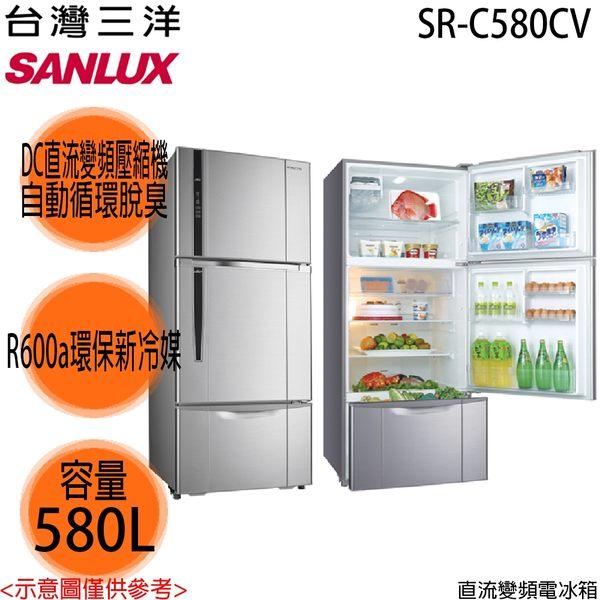 台灣三洋SANLUX 580公升三門變頻冰箱SR-C580CV