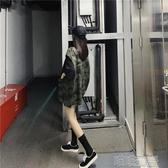 韓版寬松迷彩牛仔馬甲女春秋季新款外穿無袖工裝坎肩馬甲背心外套 喵喵物語