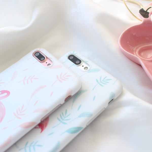 iPhone手機殼  送同款火烈鳥掛繩  清新粉藍葉火烈鳥 矽膠軟殼 蘋果iPhone7/iPhone6 手機殼