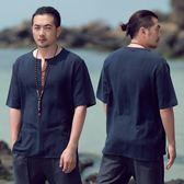 大兒童中國風復古亞麻短袖T恤棉麻夏季新款五分袖T恤男裝