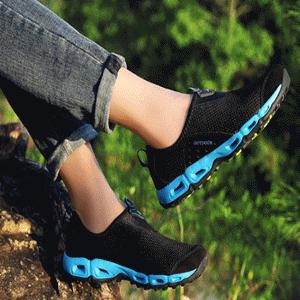 ♥巨安網購♥【W21108E5】春夏新款登山鞋男戶外休閒鞋情侶徒步戶外鞋運動鞋(黑寶藍)