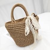 草編包草編包斜背包海邊度假沙灘包新款手提側背包蝴蝶結編織包女夏 雙11 伊蘿