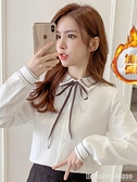 長袖polo衫女 加絨加厚燈芯絨襯衫女設計感小眾秋裝新款洋氣POLO領長袖襯衣 城市科技