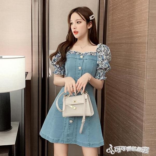 牛仔洋裝-2020新款碎花拼接牛仔方領洋裝女桔梗法式收腰顯瘦小個子A字裙 Cocoa
