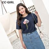 中大尺碼 立體冰淇淋繡線棉T恤上衣~共兩色 - 適XL~4L《 66193i 》CC-GIRL