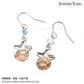 耳環 正白K飾「星光童話」耳勾式 鋯石 一對價格 專櫃推薦