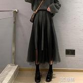 網紗裙中長款女高腰a字顯瘦半身裙氣質長裙仙女裙蓬蓬裙新款秋冬 3C優購