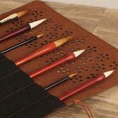 筆簾收納毛筆卷筆袋帶口袋古風竹制復古中國風國畫毛筆便攜收納袋  初見