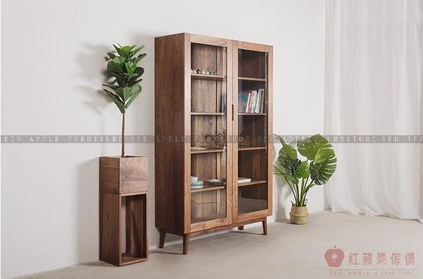 [紅蘋果傢俱]MJ006 北歐 日式  玻璃書櫃 實木 原木書櫥 書架 儲物櫃