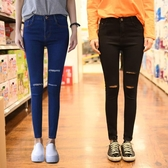 【YPRA】牛仔褲女 破洞彈力韓版小腳鉛筆九分褲