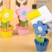 【超取299免運】木質彩繪太陽花盆栽名片夾 留言便條夾 便簽夾 Memo夾 桌上小物