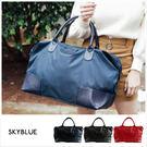 旅行袋-壓印皮標帆布旅行袋-共3色-A13130045-天藍小舖
