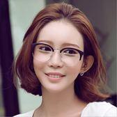 [24hr-現貨快出] 韓國 時尚 貓眼 半框 金屬邊 圓形 眼鏡 框 男女 復古 大框 眼鏡架