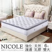 IHouse 尼可 透氣排濕乳膠三線獨立筒床墊-雙大6x6.2尺