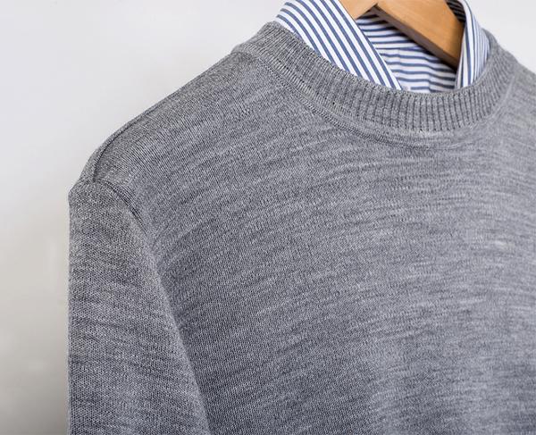 男士 針織毛衣 防縮 小圓領毛衣 純羊毛衣 三燕牌羊毛上衣 美麗諾羊毛 100%純羊毛 7977-4 圓領 淺灰