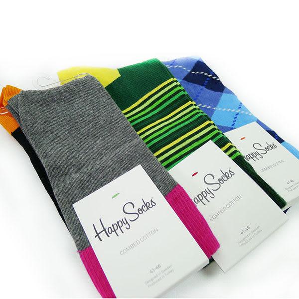 『摩達客』瑞典進口【Happy Socks】三入快樂禮盒 F組(菱格紋、五色色塊、半橫紋中統襪41-46)