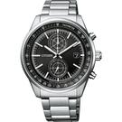 CITIZEN 星辰 光動能紳士計時手錶-黑x銀/41mm CA7030-97E