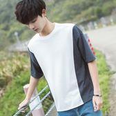 空城計秋冬韓版寬鬆個性拼接短袖T恤男潮流圓領五分袖T恤
