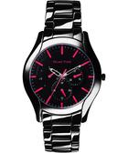 Relax Time 嶄新系列日曆女錶-黑x桃紅/37mm RT-35-3-8L