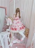 洛麗塔洋裝-原創設計洛麗塔lolita 草莓點心jsk奶油蝴蝶結可愛蕾絲吊帶洋裝  【快速出貨】YXS