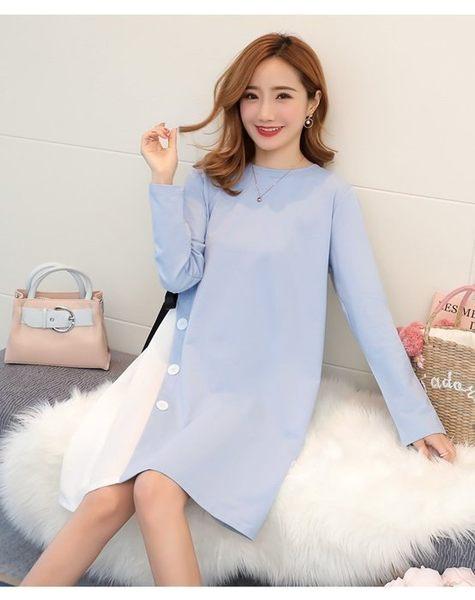 初心 韓國洋裝 【D9863】 長袖 修身 顯瘦 長袖 拼接 雪紡 洋裝 洋裝