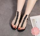 羅馬鞋 果凍拼接魚骨撞色 涼鞋 休閒鞋*Kwoomi-A51