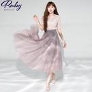 裙子 雙層撞色網紗鬆緊紗裙長裙-Ruby s 露比午茶