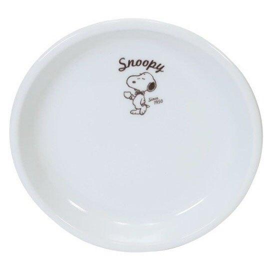 小禮堂 史努比 日製 陶瓷圓盤 點心盤 咖啡盤 金正陶器 (白 領結) 4964412-60816