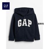 Gap男嬰幼童 logo兒童連帽休閒外套 寶寶長袖上衣 375501-藏青色