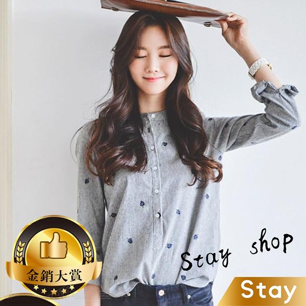 【Stay】韓版寬鬆休閒刺繡襯衫 長袖上衣 長袖t恤 女裝 衣服 寬鬆上衣 顯瘦上衣 素T 素色【W152】