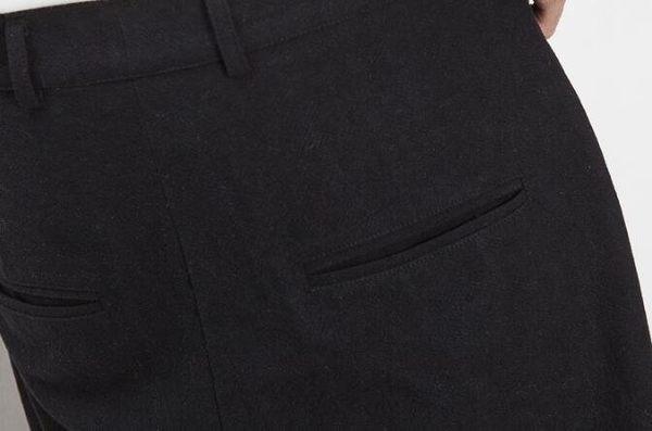 找到自己 MD 日系 潮 男 街頭 休閒簡約 亞麻 寬鬆寬版 刺繡 休閒長褲 九分褲