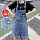 BOBO小中大尺碼【1621】口袋造型牛仔吊帶短褲 共2色 現貨
