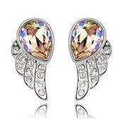 水晶耳環 925純銀耳針式-天使的翅膀鑲鑽生日情人節禮物女飾品5色73bd224【時尚巴黎】