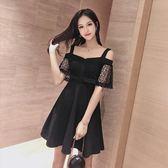 洋裝-一字肩吊帶連身裙小禮服新款女春裝小個子穿搭顯瘦氣質A字裙 Korea時尚記
