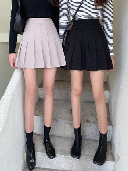 百褶裙女秋冬季毛呢半身裙黑色短裙2020新款百搭A字高腰打底裙子