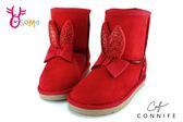 女童雪靴 中童靴 兔兔球球造型 CONNIFE保暖鋪毛短筒靴 N8019紅色◆OSOME奧森童鞋